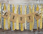 Gifts Burlap Banner & Fabric Garland Banner / Wedding / Bridal Shower / Baby Shower / Yellow and Grey