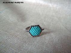 Bague tissée perles Miyuki Argenté et turquoise peyote Bohostyle Bohochic Bohemian. Taille de la bague 55-56 : Bague par m-comme-maryna