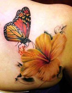 3D Butterfly and Flower Tattoos