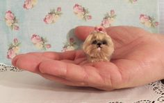 """Miniature Yorkie 1:12 scale hand sculpted and furred, under 2"""" tall,"""