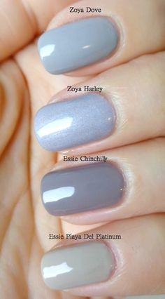 Lenallure: Nail Polish Comparison - Four Shades Of Grey  swatch Zoya Dove Zoya Harley Essie Chinchilly Essie Playa Del Platinum