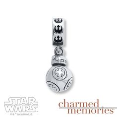 This Star Wars™ dangle charm from Charmed Memories® features the quirky droid BB-8, styled in sterling silver. © & ™ Lucasfilm Ltd.