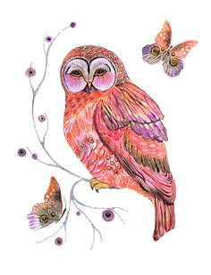 'Owl and Butterflies' by Ola Liola