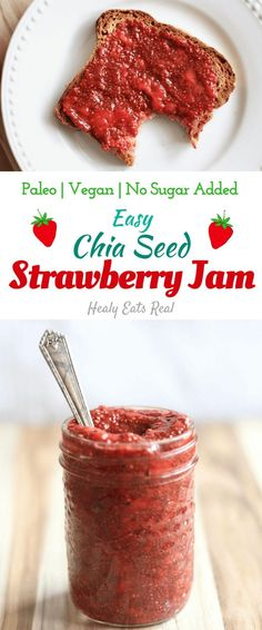 Quick & Easy Chia Seed Strawberry Jam Recipe (Paleo & Vegan)—Great for toast, oatmeal or topping ice cream! No sugar added. Quick & Easy Chia Seed Strawberry Jam Recipe (Paleo & Vegan)—Great for toast, oatmeal or topping ice cream! No sugar added. Jam Recipes, Whole Food Recipes, Vegan Recipes, Dessert Recipes, Cooking Recipes, Paleo Chia Seed Recipes, Paleo Recipes For Kids, Paleo Kids, Quick Vegan Meals
