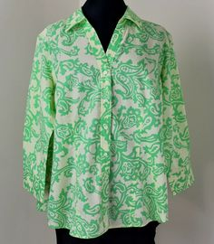 d46acd1223f Talbots Womens Tunic 1X Top Blouse Yellow Green Paisley Button Down  Excellent #Talbots #Blouse