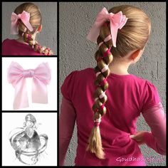 Four strand uneven loony braid with ribbon and a gorgeous big bow from the webshop www.goudhaartje.nl (worldwide shipping).   Hairstyle inspired by: @chikas_chic (Facebook / Instagram)   #hair #hairstyle #braid #braids #hairstylesforgirls #plait #trenza #peinando #прическа #pricheska #ヘアスタイル  #髮型 #suomiletit #zöpfe #frisuren #fläta #fletning #beautifulhair #ponytail #loonybraid #hairaccessories #hairinspo #braidideas #longhair #ponytail #ribbonbraid #goudhaartje
