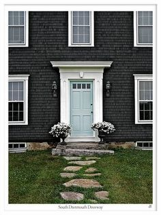 House colors - love the blue door here with the white trim against the dark house Exterior Paint Colors, Exterior House Colors, Paint Colors For Home, Exterior Design, Paint Colours, Siding Colors, Teal Door, Turquoise Door, Mint Door
