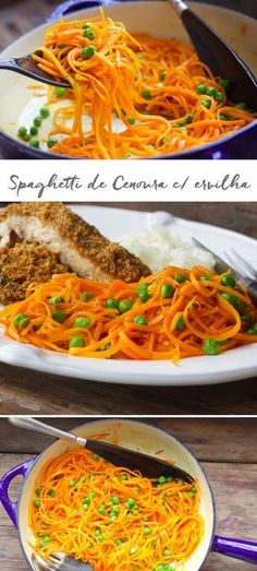 Receita saudável de Spaghetti de Cenoura com Ervilha. Raw Food Recipes, Veggie Recipes, Italian Recipes, Vegetarian Recipes, Healthy Recipes, Spaghetti, I Love Food, Good Food, Plat Simple