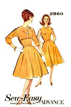 Fitted Bodice Dress Flared Skirt Bolero Cropped Jacket  Advance 2860 Sewing Pattern Vintage 1960s Size 14 Bust 34 Inch
