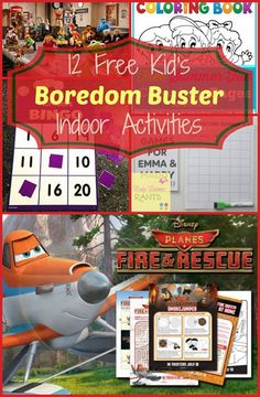 12 Free Boredom Buster Kid's Indoor Activities
