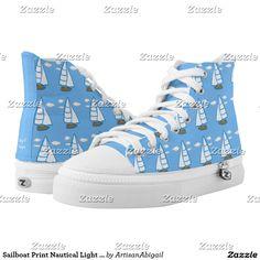 Sailboat Print Nautical Light Blue Shoes; ArtisanAbigail at Zazzle