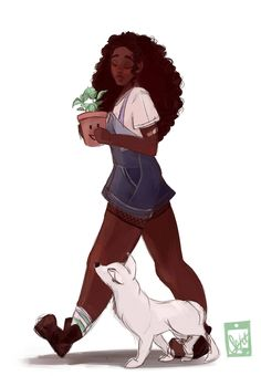 "septembersart: "" was feeling stressed so I drew Winter! I feel like she's the type of person to keep plants and give them names Reference for Ryu from here "" I love her art! Black Girl Art, Black Women Art, Black Art, Art Girl, Character Inspiration, Character Art, The Lunar Chronicles, Marissa Meyer Books, Black Characters"