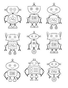 Wonderful Free of Charge robot drawing for kids Ideas Allow little ones twenty pieces of newspaper as well as a common box associated with crayons, then there is a good vent Food Art For Kids, Robots For Kids, Robot Clipart, Robots Drawing, Stem Classes, Planner, Drawing For Kids, Art Plastique, Elementary Art