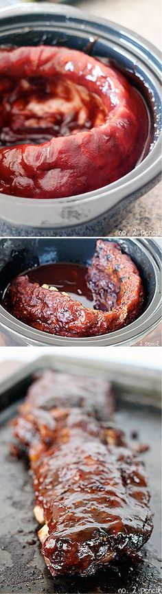 Slow Cooker BBQ Ribs - Says: the easiest way to make ribs, and they are incredibly tender and flavorful. If you have never made ribs because they seem too complicated or time consuming, this is the perfect recipe...    these are amazing and so easy!
