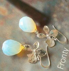 Pretty earrings with opalite on sterling silver hooks. Stud Earrings, Etsy, Jewelry, Craft Gifts, Ear Piercings, Stones, Silver, Schmuck, Jewlery