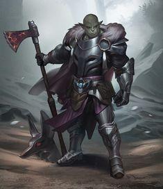 m Half Orc Paladin Plate Armor Cloak Great Axe Hills path Mixed forest fog knight by Blanca J ArtStation med Fantasy Heroes, Fantasy Races, Fantasy Warrior, Fantasy Rpg, Medieval Fantasy, Dnd Characters, Fantasy Characters, Fantasy Inspiration, Character Inspiration