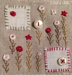 "Cose y calla : Hoja del SAL ""Mon Cahier de Broderie"" Embroidery Flowers Pattern, Hand Embroidery Stitches, Hand Embroidery Designs, Embroidery Applique, Cross Stitch Embroidery, Quilt Stitching, Applique Quilts, Penny Rugs, Tapetes Vintage"