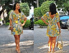 Vestido florido da Chic & Elegante, sandália C&A e bolsa Passarela