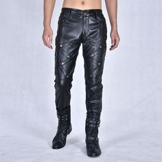 #Mens #Casual #Nightclub #Leisure #Genuine #Black #Leather #Pants #style #fashion #OOTD Fashion Moda, Mens Fashion, Style Fashion, Mens Leather Pants, Rock Style, Leather Fashion, Night Club, Pants Style, Men Casual