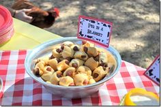 Farm birthday party food -- pigs in a blanket