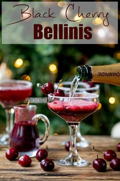 New Year's Eve Cocktail? Make the fruit puree ahead of time for this Black Cherry Bellini cocktail so you can serve up them up in super-quick time! #newyearseve #cocktail #blackcherry #bellini #newyearsevecocktail