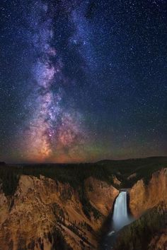 Stars over Yellowstone Falls Photo by Royce Bair -- National Geographic Your Shot #night_photography #stars