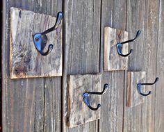 Coat Hook Set, Four Matching Hooks,Rustic Single Hooks,Coat Racks,Pallet Wood Coat Hooks,Many Use Hooks,Kitchen, Bathroom, Bedroom,Guestroom by RobsRusticCreations on Etsy https://www.etsy.com/listing/226555052/coat-hook-set-four-matching-hooksrustic