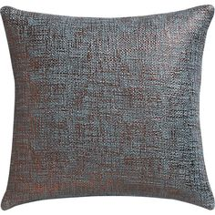go for the bronze.  Tweedy weave lives luxe in cool slate slicked with the warm gleam of bronze.  Highlighting nubby texture with subtle graphic dimension, metallic foil print shines on 100% cotton square.  Flips to solid slate.  Do the math: CB2 low prices include a pillow insert in your choice of plush feather or lofty down-alternative (a rare thing indeed).