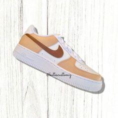Tan Sneakers, Leather Sneakers, Beige Nike Shoes, Nike Custom, Custom Air Force 1, Processing Time, Nike Air Force, Paint, Create