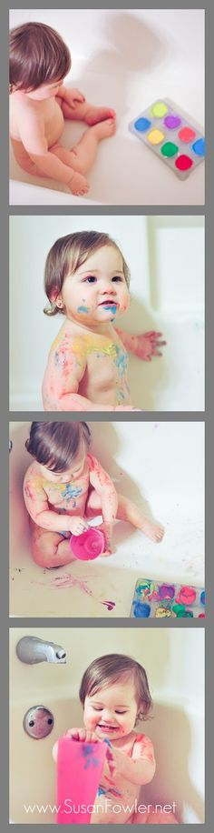 Easy bathtub finger paints for toddlers & babies with ingredients already in your house!    Toddler games. Playtime. Fun with toddlers.  One year old explore.