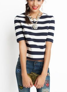 Nautical stripes + statement necklace