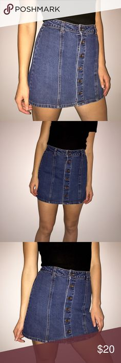 Urban Outfitters skirts White flared urban outfitters silence+noise skirt, black elastic waistband. Size medium. Worn 1-2 times, in very good condition.                       Denim button up skirt, urban outfitters silence+noise brand, size S, worn 2-3 times, in very good condition.         Message me if you only want one! $10 each. Skirts Midi