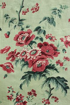 Antique French fabric c 1850 ~ mint green , block printed Chintz ~