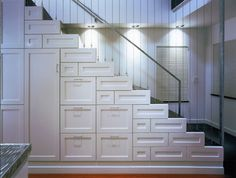 Winsome Under Stairs Closet Storage Decorating Ideas in Staircase Contemporary design ideas with Winsome accordian blinds cable railing cool stair Deep drawers deep storage drawers extra Basement Staircase, Staircase Design, Staircase Ideas, Basement Steps, White Staircase, House Stairs, Stairway Storage, Stair Drawers, Under Stairs Drawers