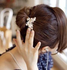 Gumka do włosów perły perłowy motyl biały hair cyrkonie EdiBazzar