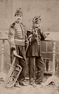 Mexican military musicians  From a scarce CDV album of mexican occupationals made by the studio Cruces y Campa in the 1860s. (Musicos)