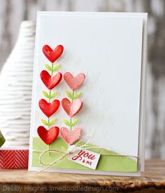 Heart Flowers card, by Debbie at Lime Doodle Design