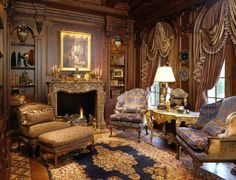 Luxurious French library designed by Nancy Anderson Ross