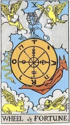 The Wheel of Fortune Meaning - Major Arcana Tarot Card Meanings Wheel Of Fortune Tarot, Tarot Significado, The Tesseract, Fortune Cards, Owl Wings, Tarot Major Arcana, Tarot Card Meanings, Card Reading, Tarot Decks