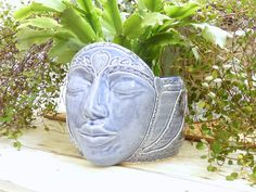 Ceramic Face Planter Garden Goddess Plant by MyMothersGarden, $51.00
