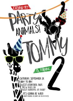 Feature Friday: Party Animals birthday! | Halfpint Design - this party animal invite was perfect