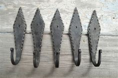 SET OF 5 GOTHIC SPEARHEAD DESIGN HAND WROUGHT IRON COAT HOOKS WALL HOOK GS1 #GOTHIC