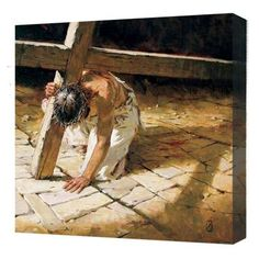 """""""Jesus on his knees carrying a cross"""" Everytime I see this I get teary eyed"""