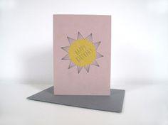 """Klappkarte Sonne """"Happy Birthday"""" Klappkarte A6 gedruckt auf hochwertigem Recyclingpapier. Umschlag aus Recyclingpapier.  2,80 € inkl. MwSt., zzgl. Versandkosten"""