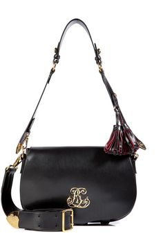 Ralph Lauren Collection Polished Vacchetta Vintage Military Bag in Black in Black $2350