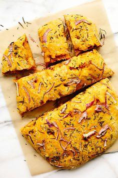 Vegan Pumpkin Focaccia Bread - My WordPress Website Best Vegan Bread Recipe, Bread Recipes, Scd Recipes, Pumpkin Recipes, Fall Recipes, Focaccia Bread Recipe, Vegan Thanksgiving, Vegan Baking, Bread Baking
