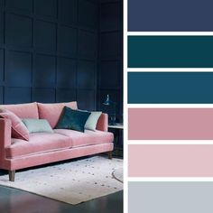 Blush navy blue teal color palette for sitting room #colorpalette #color #sittingroom #inspiration #home