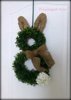 Easter Wreath.  Easter Bunny Wreath.  Boxwood Bunny Wreath.  Boxwood and Burlap Bunny Wreath with Geranium Tail.  An Etsy ORIGINAL. by PrivilegedDoor on Etsy https://www.etsy.com/listing/179578062/easter-wreath-easter-bunny-wreath