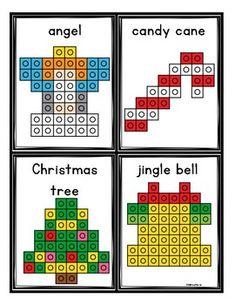 Christmas Snap Cube Mats by Melissa Moran Educational Activities For Toddlers, Montessori Activities, Christmas Activities, Creative Curriculum Preschool, Kindergarten Crafts, Lego Math, Fun Math, Christmas Pattern Block Mats, Cube Template
