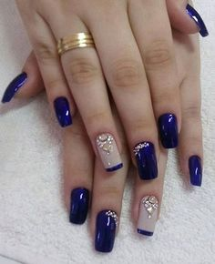 Fancy nails, pretty nails, creative nails, blue and silver nails, cobalt blue Blue And Silver Nails, Blue Nails, New Nail Designs, Acrylic Nail Designs, Acrylic Art, Stylish Nails, Trendy Nails, Super Nails, Fancy Nails